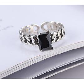 韓國 S925純銀復古仿古泰銀做舊鏈條方鋯石瑪瑙開口尾戒戒指