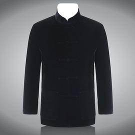 純黑 男士長袖唐裝男套裝 韓國絲絨 男士唐裝 上衣 民族服裝黑色170 92A^(L^)