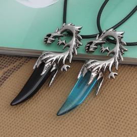 至尊狼牙黑瑪瑙鈦鋼男士項鏈 復古 吊墜飾品生日 藍色吊墜 圓珠鏈送皮繩