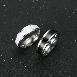 黑白陶瓷鈦鋼霸氣情侶對戒男女日 食指尾戒指環飾品可刻字銀邊黑色16號