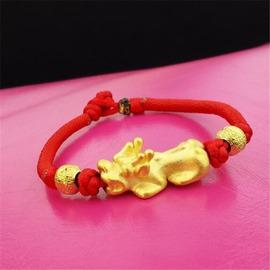 男士歐幣金招財小貔貅手鏈咖啡色編織手繩轉運保平安首飾飾品紅繩貔貅手鏈