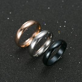 鎢金男女士戒指 情侶戒指對戒 刻字光面尾戒 指環飾品4mm銀色16號