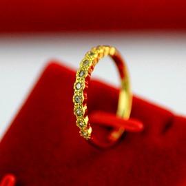 黃金戒指微鑲鉆石  戒指無名批戒指 1111美號:6