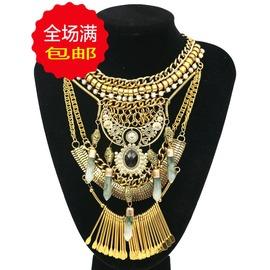 大牌 民族風 復古多層古金古銀鑲半寶石流蘇項鏈 飾品 古銀