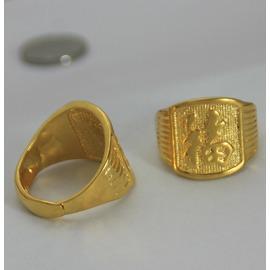 歐幣金 男士福字戒指開口可調大小 土豪金發字指環 黃銅鍍金1011發字