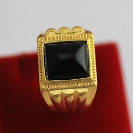 簡約大方歐幣金男戒鑲寶石方戒高仿黃金男士戒指表演道具1109黑寶石(尺寸 )