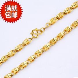 仿金女士項鏈鍍24k心型黃金項鏈 女士項鏈 盒子項鏈不退色