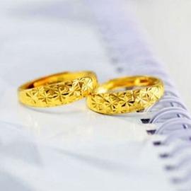 對戒 黃銅真空鍍24K黃金戒指久不褪色天星 情侶黃金首飾指環5M(女戒)