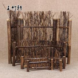 日式紫竹茶道擺件 裝飾 小籬笆 竹圍欄 竹屏風 竹擺 茶道零 紫竹斜邊小號