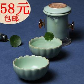 汝窯茶具汝瓷茶壺紅茶茶具一壺兩杯陶瓷便攜式旅行茶具花茶壺紅茶器配葵花杯