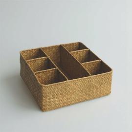 海草編收納盒 茶道收納箱 茶具整理箱 方格收納儲物 分類整理 大四格
