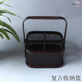 復古竹編茶道收納籃 可拆卸盛物竹籃 水果盤茶點心籃干果籃