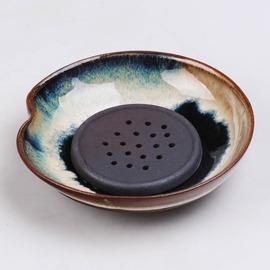 新中式禪意茶具 粗陶養壺托窯變陶瓷蓮蓬壺承干泡壺墊藍