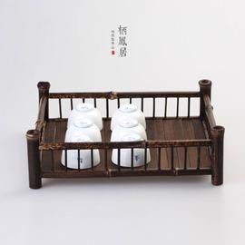 新中式禪意茶具紫竹茶托竹制陳列茶棚茶具收納盤茶杯架茶盤端茶盤小號