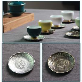 新美堂杯托 錫鐵隔熱杯墊日式茶道茶杯墊功夫茶具零 款1蓮花魚(銀白)