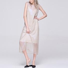 獨立野型 窈窕美吊帶雪紡網紗中長連身裙