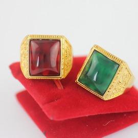 A150高端大氣男士鑲寶石戒指24K仿黃金開口紅寶石綠寶石立體男戒紅寶石(開口)