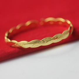 C139黃銅鍍金首飾 C形手鐲 女士麻花開口手環 仿黃金手鐲