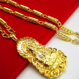 久不掉色 黃金項鏈 男女款仿金鍍金空心999千足金24K金觀音吊墜子單條鏈子金約0.23