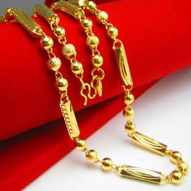 久不掉色黃金項鏈 男款鍍金999足金佛珠鏈空心飾品圓珠子六角柱金約0.12