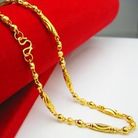 千影久不掉色黃金項鏈 男款 女款橄欖珠 仿金24K鍍金鏈子結婚首飾細款金約0.2