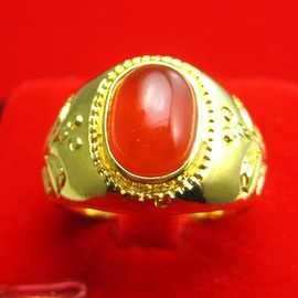 千影珠寶不掉色 黃金戒指 男士女款紅瑪瑙 寶石戒子指環18K鍍金子約17~18號約0.1