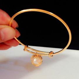 女款手環婚慶手環仿黃金手鐲歐幣金鏤空球手鐲光面可調不掉色圖片色