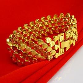不掉色黃金手鏈手鐲男士寬24K鍍金飾品 999結婚鏈子心形送 金約0.15克