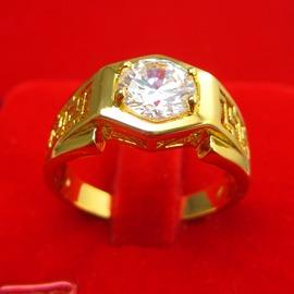 不變色 黃金戒指 男 女款 鍍金仿金24K千足色999男戒鑲鉆結婚首飾19~20號金約0.