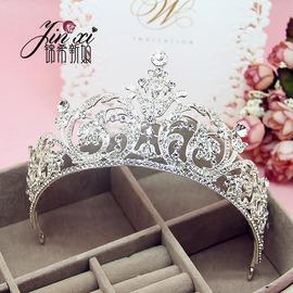 巴洛克女王大皇冠水鉆發飾歐式新娘結婚公主王冠頭飾婚紗高檔配飾