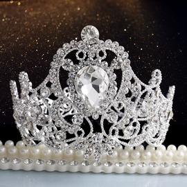 日韓爆款 圓形新娘頭飾小皇冠王冠中式結婚發夾舞臺發卡 HG217