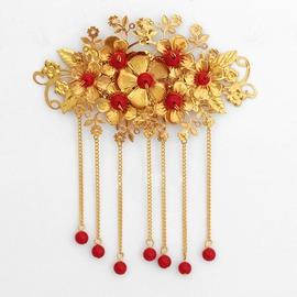 古裝新娘鳳冠頭飾古代新娘發簪項鏈古裝秀禾服頭飾紅色耳環