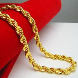 金店一樣黃金項鏈男士女款24K鍍金仿999千足金子麻花鏈子粗細重大粗8長58CM金約0.5