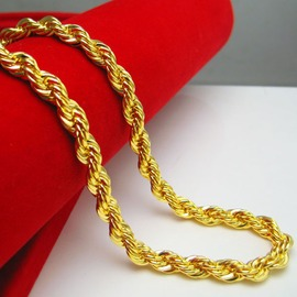 金店一樣黃金項鏈男士女款24K鍍金仿999千足金子麻花鏈子粗細重大細3長58金約0.18克