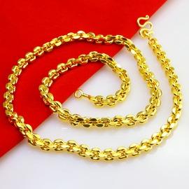 很逼真不掉色黃金項鏈男士女款24K鍍金仿金首飾O形鏈子重送禮結婚全長約58厘米金約0.13