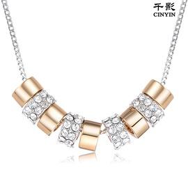 黃金項鏈 女款 串珠子轉運珠路路通雙色吊墜 水晶墜子鍍金 送女友銀色