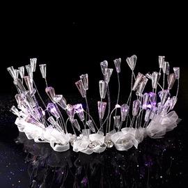 新娘 飾品發光頭飾月光女神結婚禮款皇冠頸鏈發飾婚紗配飾白色