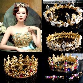 新娘飾品貝殼水晶金色頭飾巴洛克皇冠彩色水鉆發飾復古結婚攝影HG006__白色底