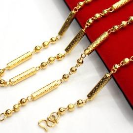 轉運珠男款鍍24K金項鏈 黃金項鏈男 仿足金項鏈不褪色紅色