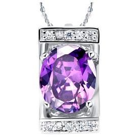 夢幻紫水晶 吊墜項鏈白金項鏈閃鉆奢華女鎖骨鏈 風 CN078藍色