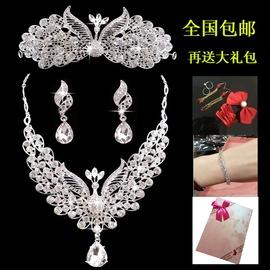 鳳凰新娘頭飾皇冠三件套裝韓式結婚紗飾品首飾發飾項鏈耳環配飾項鏈 耳針