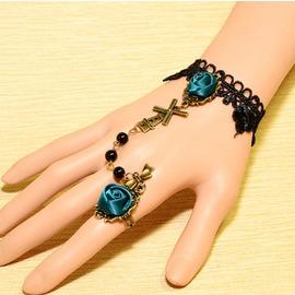飾品 復古宮廷 哥特風 玫瑰花蕾絲手鏈戒指一體8925藍色