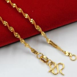 鍍金項鏈女款 銅鍍24K真金項鏈 鍍金雙水波項鏈 保色金項鏈含金量約0.2克