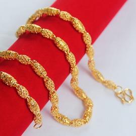 鍍金項鏈男款 銅鍍24K真金項鏈 佛珠項鏈 霸氣金項鏈男不掉色55CM含金量約0.15克