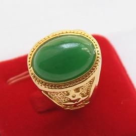 鑲綠紅寶石假黃金戒指男款活口銅鍍金方戒指24K金開口沙金不掉色綠色含K金約0.15克