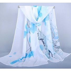 水墨畫樹枝印花雪紡圍巾 女喬其紗絲巾 圍巾 藍粉色