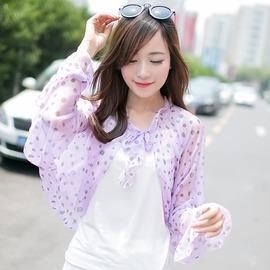 女士防曬披肩 防紫外線夏天騎車空調披肩 雪紡絲巾披肩紫色