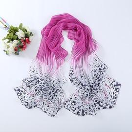 雪紡絲巾圍巾小披肩兩用豹紋漸變色防曬雪紡女款長款 20條豹紋粉紫