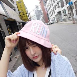 韓國RUN刺繡字母牛仔盆帽潮 漁夫帽遮陽帽春秋 夏男女 黑色M(56~58cm)