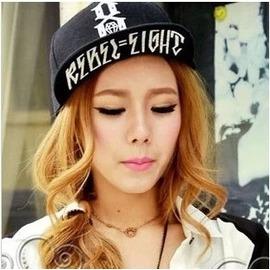 韓國平沿帽 潮棒球帽情侶帽男女 嘻哈帽潮鉆石遮陽帽子 黑色可調節(56~60cm)